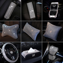 Luxury Rhinestones Crystal Car Seat belt cover pad Neck pillow Waist Support Ste
