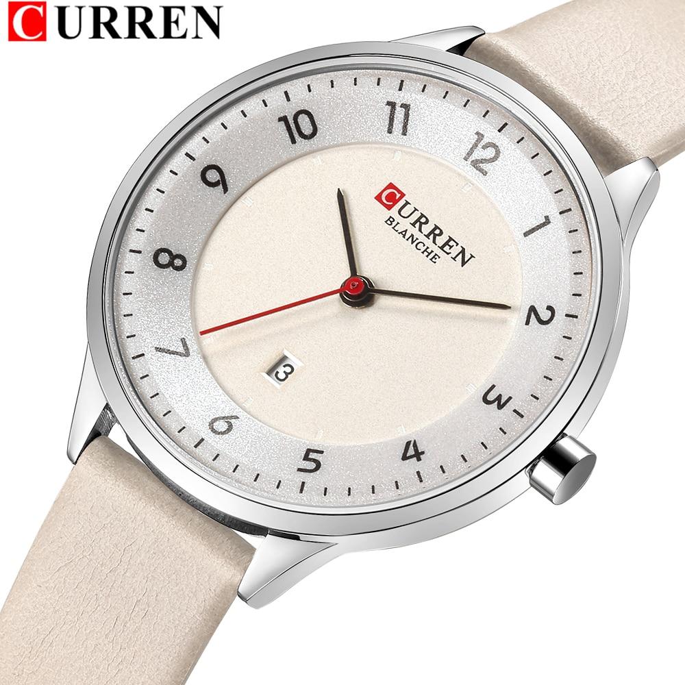 Charm Leather Watches Women Classic Digital Analog Quartz Wristwtatch Ladies Dress Watch With Date CURREN 9035 Relogio Feminino