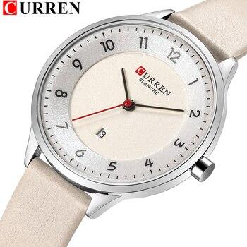 Charm Leather Watches Women Classic Digital Analog Quartz Wristwtatch Ladies Dress Watch With Date CURREN 9035 Relogio Feminino  дамски часовници розово злато