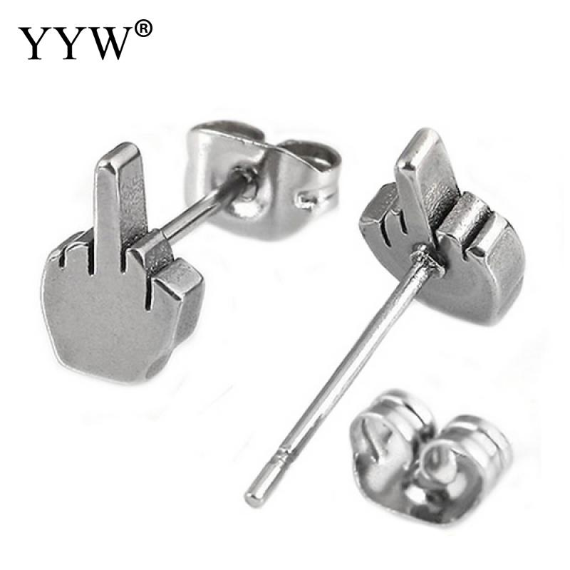 YYW Punk Cool Boy Steel Black Stainless Steel Ear Jewelry Studs Earring Women Man Cute Small Lovely Finger Hand Studs Earrings