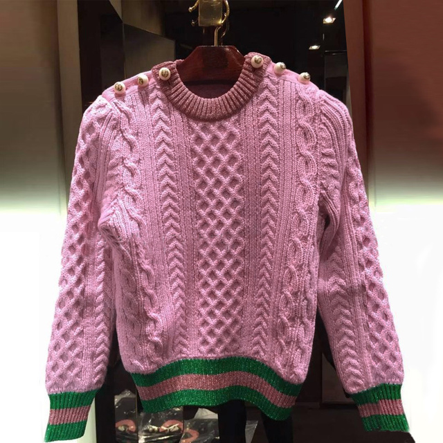 Runway Designer 2020 New Pearls Pink Sweaters Pullover Women Spring Winter Striped Female Knitted Jumper Christmas Clothes