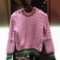 Runway Designer Pearls Pink Sweaters and Pullovers Women Autumn Winter Striped Female Knitted Jumper 2018 Christmas Clothing