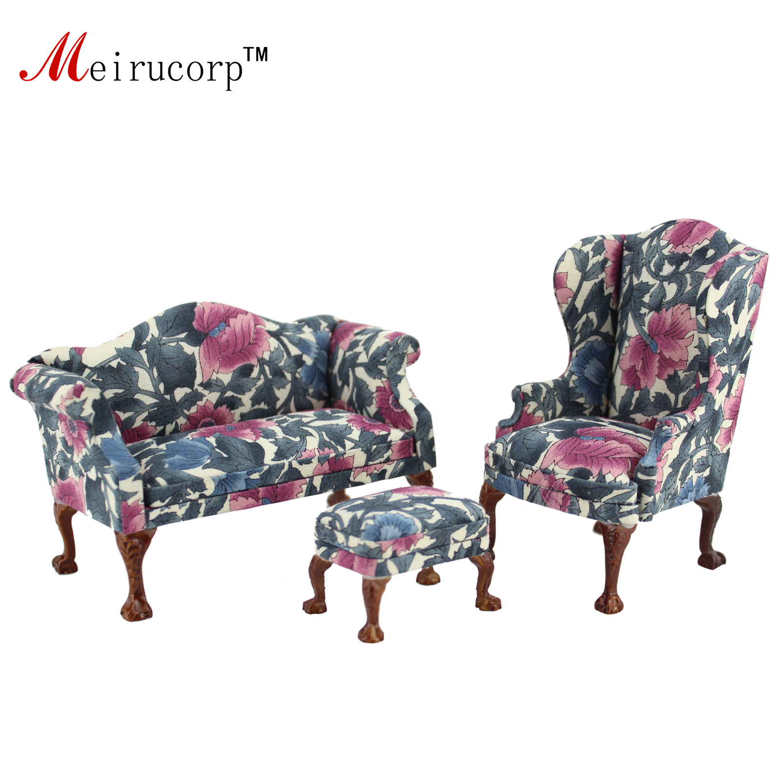Dollhouse 1 12 scale Miniature furniture Petal pattern Living room chair and sofa set