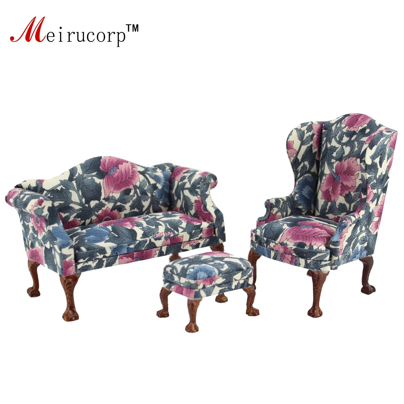 Dollhouse 1:12 échelle Miniature meubles Pétale motif salon chaise et canapé ensemble