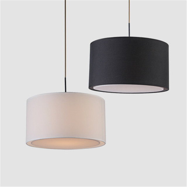 tela redonda moderna lmpara de techo de comedor lamparas colgantes nrdico dormitorio negroblanco lmpara