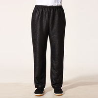 Top Quality Black Chinese Men Martial Arts Pant Tai Chi Kung Fu Trousers Cotton Linen Costume