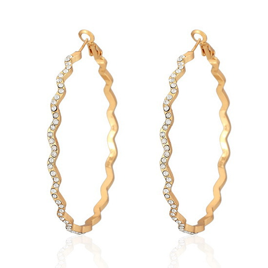 Big Hoop Earrings Yellow Gold Color Basketball Wives Fashion Jewelry For Women Austrian Rhinestone Wave Round Earrings E625