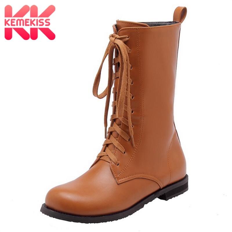 Kemekiss Winter Shoes Calf-Boots Plus-Size Fashion Women Fur Warm Round Toe 28-52 Lace-Up