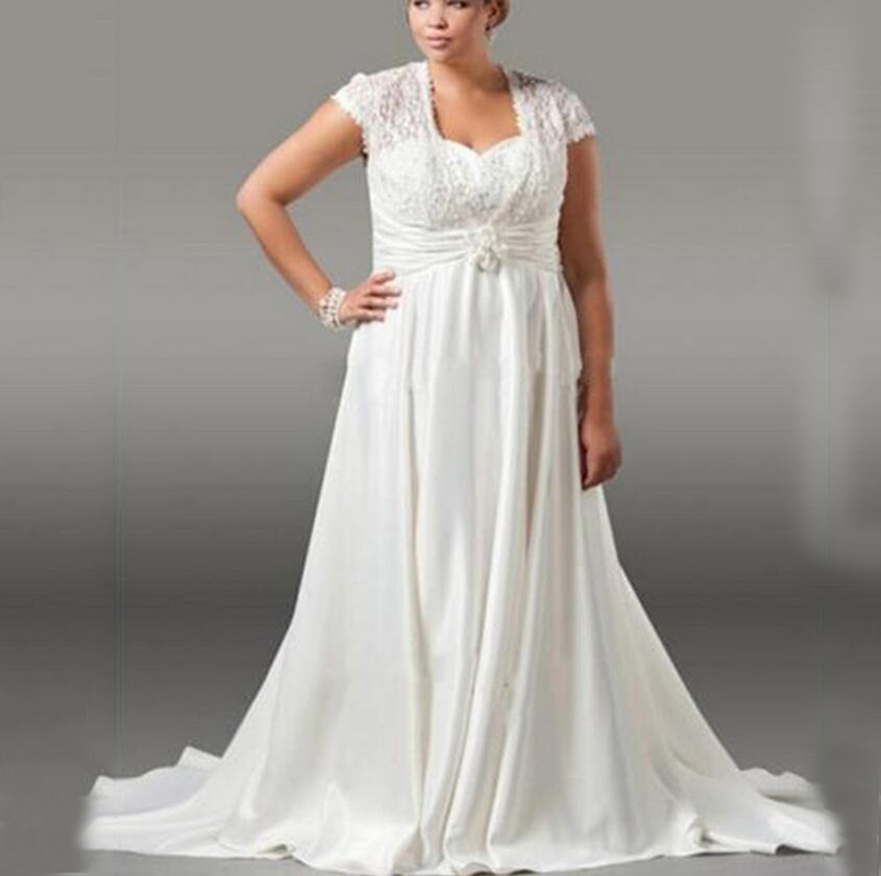 Sweetheart Wedding Dress With Cap Sleeves: Plus Size Ivory Long Chiffon Wedding Dresses A Line