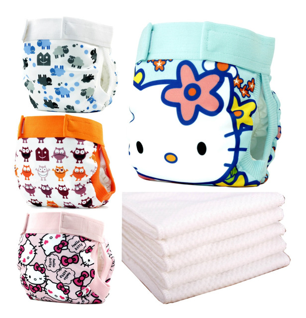 4pc Gladbaby cloth diaper+insert  baby nappies diaper pants Adjustable washable  resuable pocket diaper waistband with veclro