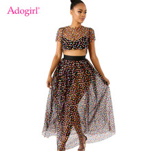 7d2ad4f20 Adogirl Colorful Polka Dots Print Sheer Mesh Two Piece Set Dress O Neck Short  Sleeve