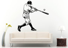 Free Shipping Sport Wall Decal Baseball Player With Bat Sticker Mural Home Boys Bedroom Decorative Vinyl MuralQ-56