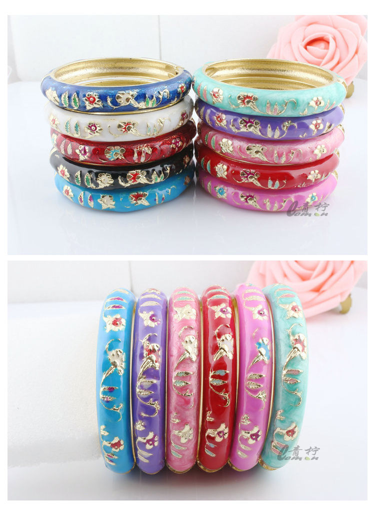 Wholesale10pcs Cute Chinese Handmade Kids Cloisonne Enamel Cuff Bracelet Bangle