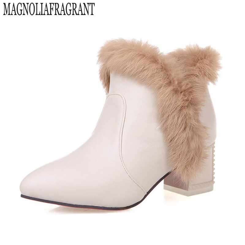winter winter boots fur rabbit fur ankle boots for women high heels pointed large size shoes woman 32-43 women boots z385 women genuine leather boots rabbit fur lace high heels ankle motorcycle boots women fringe shoes winter shoes