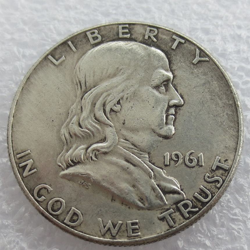 1961 P D Franklin Silver Half Dollar 90% silver or silver plated copy coins High Quality