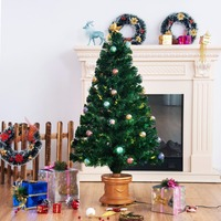 Goplus 4Ft Pre Lit Fiber Optical Firework Christmas Tree w/ Ornaments & Gold Top Star Christmas Decorations CM21218