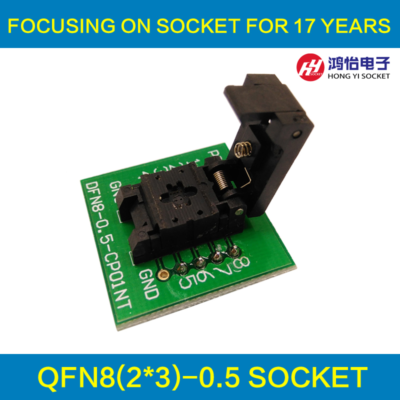 QFN8 DFN8 WSON8 Programming Socket Pogo Pin Probe Adapter Pin Pitch 0.5mm IC Body Size 2x3mm Clamshell Test Socket Programmer bios sop16 soic16 original straight test clip pin pitch 1 27mm universal body programming clip test clamp