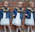 3 ШТ. Куртка + шарф + платье девочка комплект одежды Младенца Tollder Девочек Джинсовая Куртка Шарф и платье Набор
