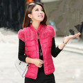 2015 New Women Winter Fashion Mandarin Collar Thick Warm Fur Cotton Padded Patchwork Down Vest Jacket Coat 8 Colors LY1757