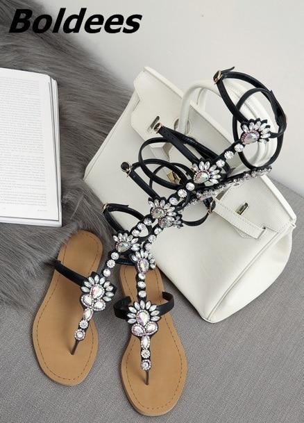 Trendy Design Buckle Straps Flat Sandals Woman Knee High Rhinestone Gladiator Sandal Boot Bohemia Style Crystal Beach Shoes - 6