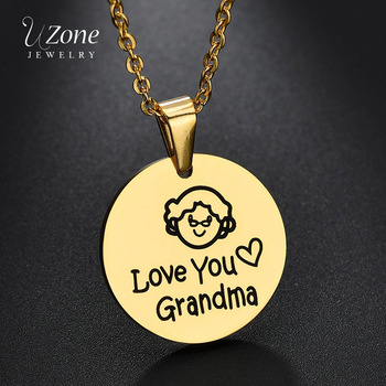 UZone Stainless Steel Love You Grandma Pendant Necklace Heart Family Women Chain Necklaces Memory Gifts Te quiero Abuela image