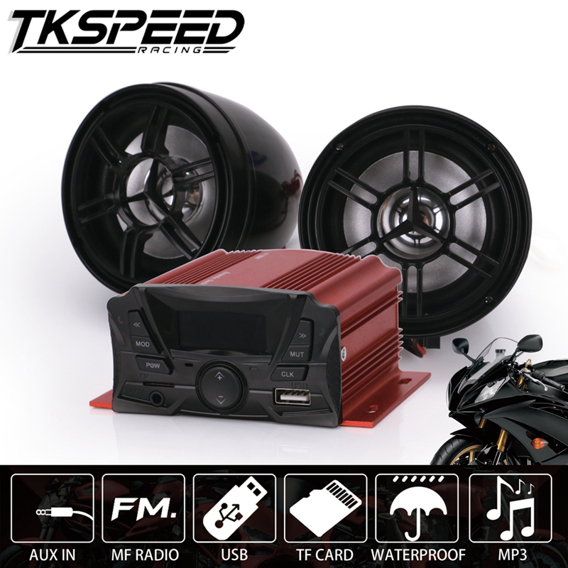 Red 12V Waterproof Universal Sound System SD USB MP3 Motorcycle Audio Remote Control Stereo 2 Speakers