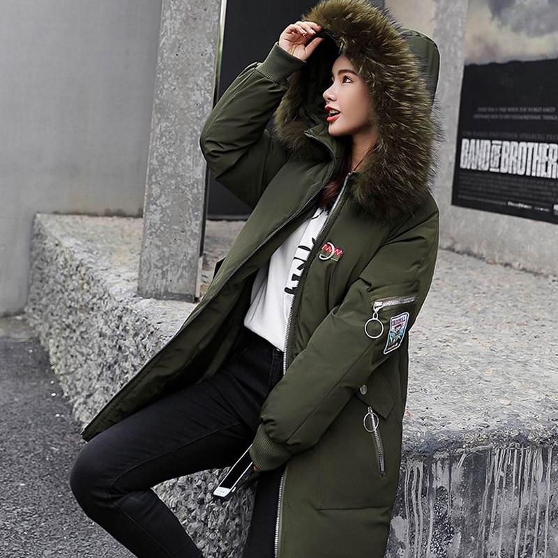 Fourrure De Taille Beige Parkas Green Outwear Chaud Floral Manteau Épais Veste army xxxl Grue Femmes Retour light D'hiver noir 2018 M Brown La Coton Plus Broderie ZzfqU7xwR