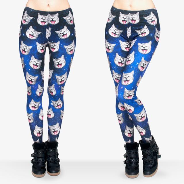 New Fashion Funny Leggings Digital 3D Galaxy Cat Seam Print Polyester Women Leggings For Fashion Dress