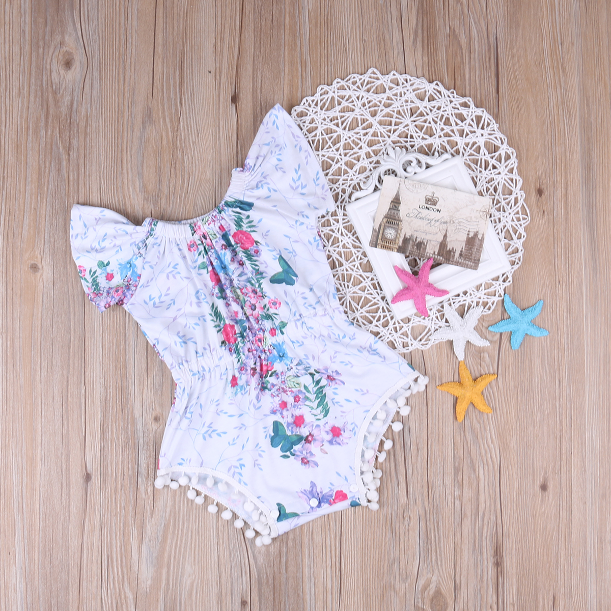 2017 Summer Floral Baby Girl Romper Clothes Cute Newborn Infant Bebes Tassel Rompers Toddler Kids Jumpsuit Outfit Sunsuit 0-24M 2017 summer newborn baby girl white lace romper jumpsuit floral infant clothes outfit sunsuit