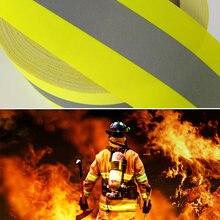 Светоотражающая огнестойкая лента шириной 5 см с желтым серебром