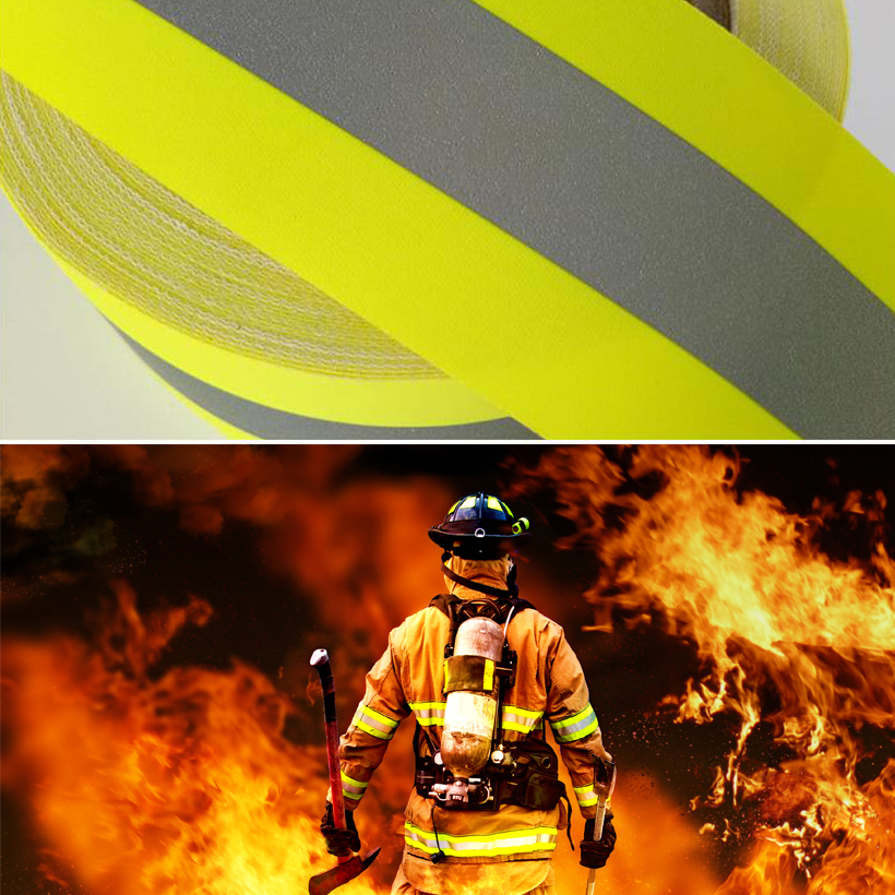 5cm width Reflective Flame Retardatn Tape with Yellow Silver and 100% Cotton Backing for Glove Free shipping