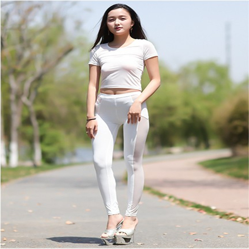 Sexy Mesh Sheer Pants Women Summer Thin Pants Capris Female Ankle Length Pencil Pants -in Pants ...