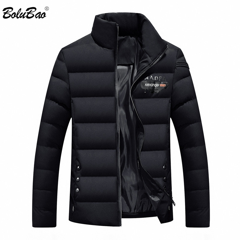 Bolubao Model New Males Parka Cotton Padded Winter Jacket Coat Males Stable Colour Stand Collar Zipper Thick Coat Males Down Parka