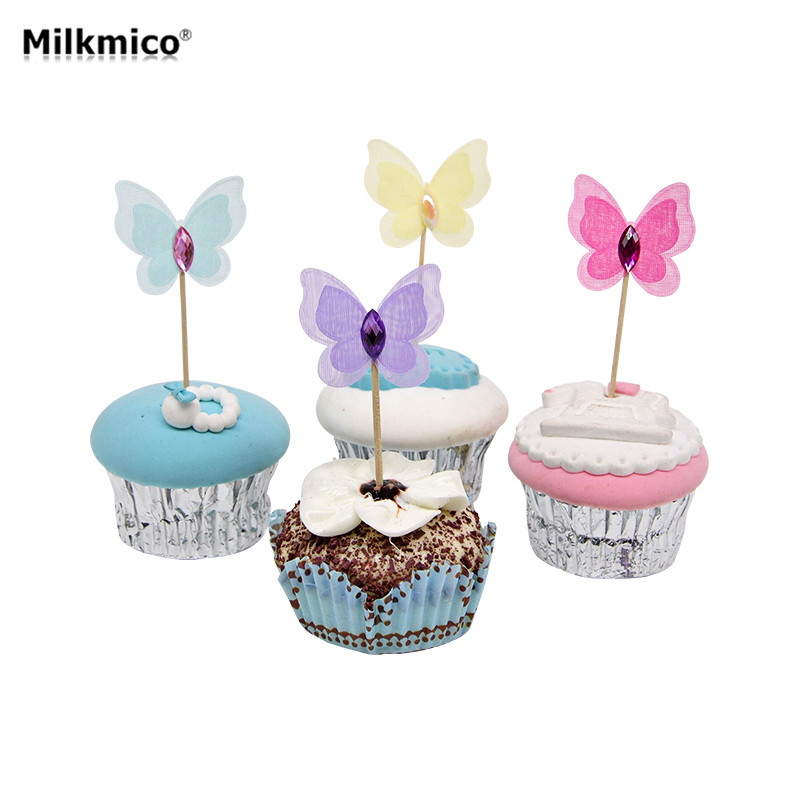 New 12pcs Butterfly Party Cupcake Toppers Picks Decorations For Kids Birthday Party Baby Shower Diamond Cake Decoration Supplies