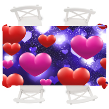 Round Tablecloth Psychedelic Waterproof Love Heart Wedding Table Cloth Oilproof Cover Rectangular