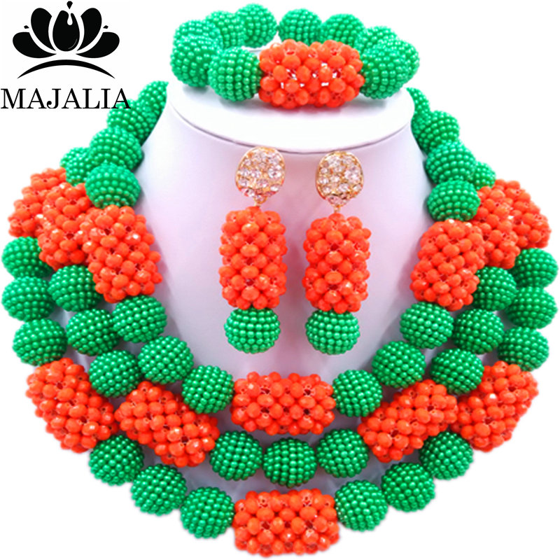 Majalia Classic Fashion Nigerian Wedding African Jewelery Set Green and Orange Crystal Necklace Bride Jewelry Sets 3SZ016Majalia Classic Fashion Nigerian Wedding African Jewelery Set Green and Orange Crystal Necklace Bride Jewelry Sets 3SZ016
