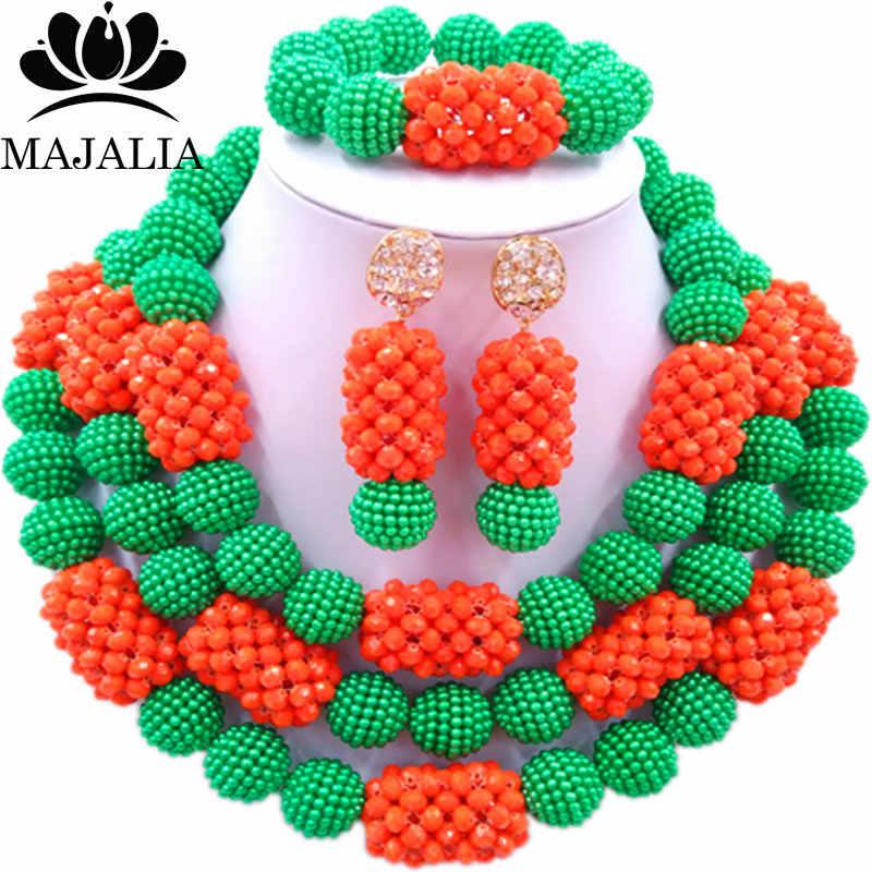 Majalia Klassische Mode Nigerianischen Hochzeit Afrikanischen Schmuck Set Grün und Orange Kristall Halskette Braut Schmuck Sets 3SZ016