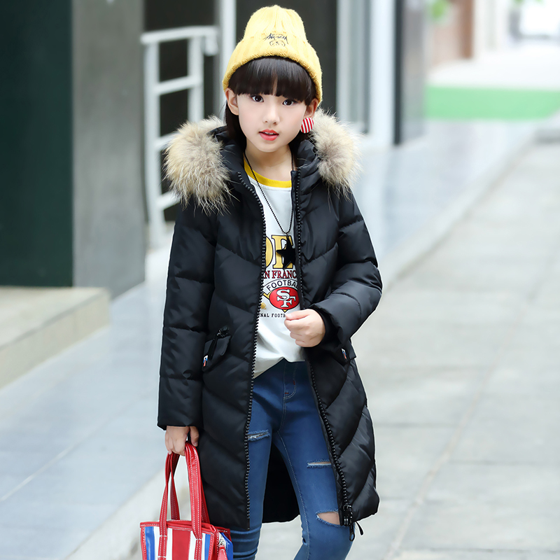 2017 warm kids down jacket for girl children's cold winter jackets Long Pattern Child girls Clothes parka -20-30degree 2017 boys parka childen winter jackets for girls down jacket for girl hooded warm coat kids thick cotton down jacket cold winter