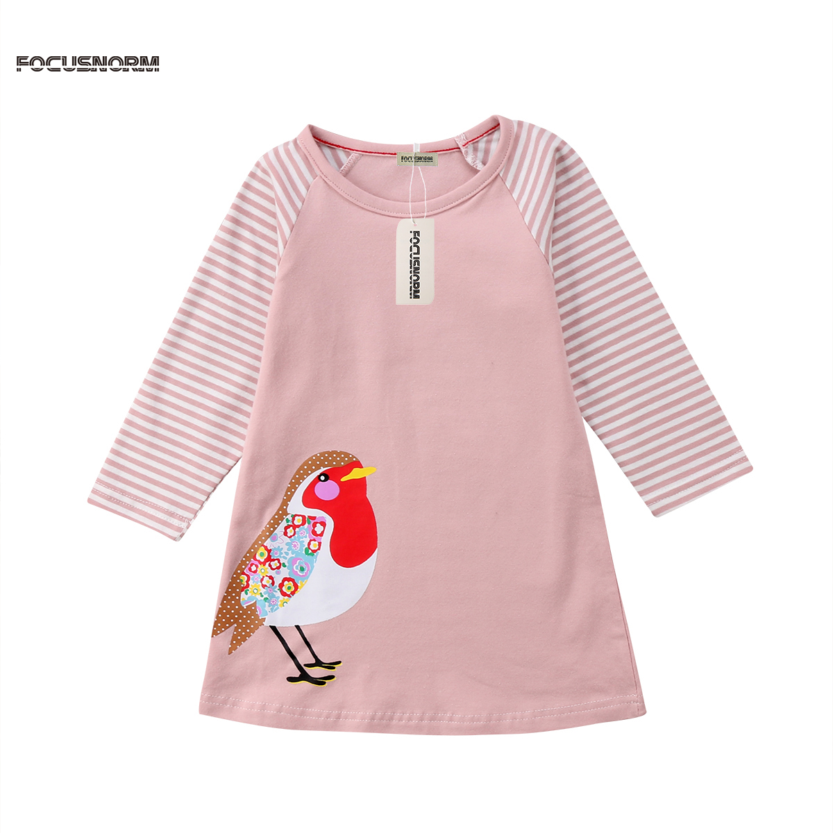 Long Sleeve Girl Dress striped Casual Cotton Spring Autumn Animal Applique Toddler Baby Girls Princess Dresses Baby Girl Clothe