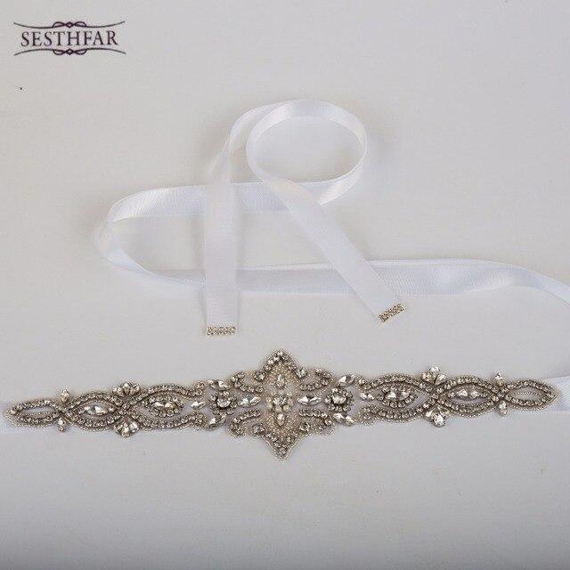 Newest Fashion Luxurious Handmade Rhinestone Silk Ribbon Pearl Crystal Wedding Party Bride Bridesmaid Belt Dress Sash
