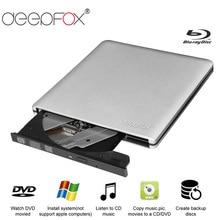 Deepfox אלומיניום Blu Ray כונן Slim USB 3.0 Bluray מבער BD RE CD/DVD RW לשחק 3D 4 K Blu ray דיסק עבור מחשב נייד מחברת