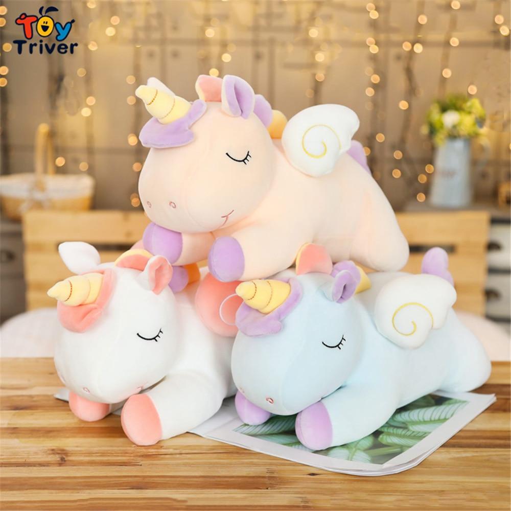 Kawaii Rainbow Unicorn Angel Flying Wings Plush Toy Triver Stuffed Animals Doll Pillow Cushion Baby Kids Birthday Gift Decor