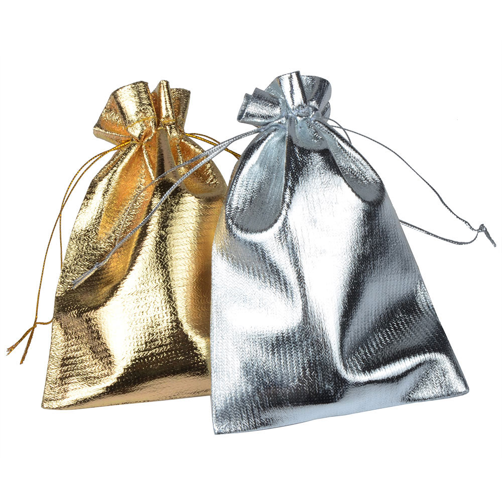 10pcs/bag 7x9 9x12 10x15cm Adjustable Jewelry Packing Bags Silver Gold Color Drawstring Wedding Gift Bags & Pouches Jewelry