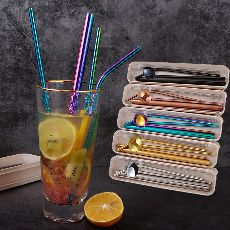 Reusable Drinking Straw 304 Stainless Steel Metal Straw with Cleaner Brush For Cup 4*Metal Straw 2*Cleaner Push 1*Straw Gift Box