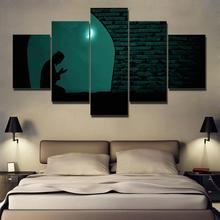 Canvas Paintings Home Decor Framework HD Prints Pictures 5 Pieces Muslim Praying At Night Under The Moon Islam Poster Wall Art