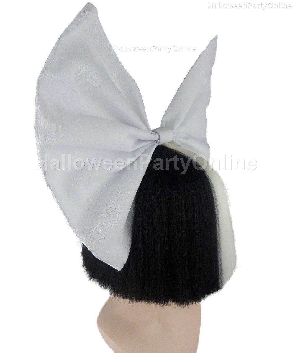 Halloween Party Online SIA Black & White Shy Wig White Bow Costume ...