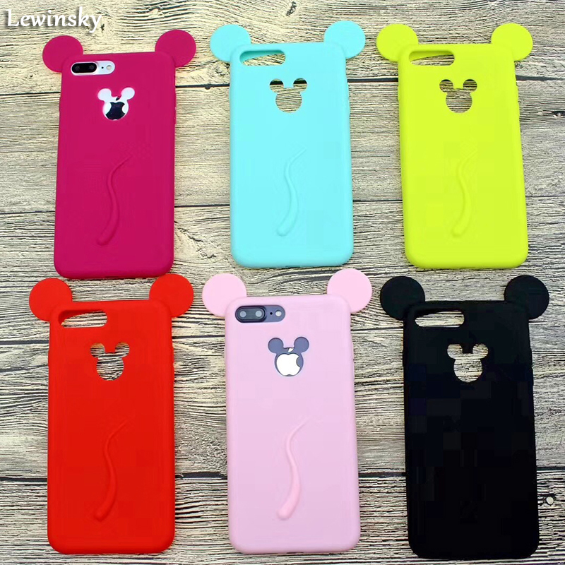 3D Cute Candy Minnie Mouse Ear Rubber Case For iPhone 7 6 6S Plus X Soft Silicone Cartoon Cover Back For iPhone 8 7 6S Capa O18
