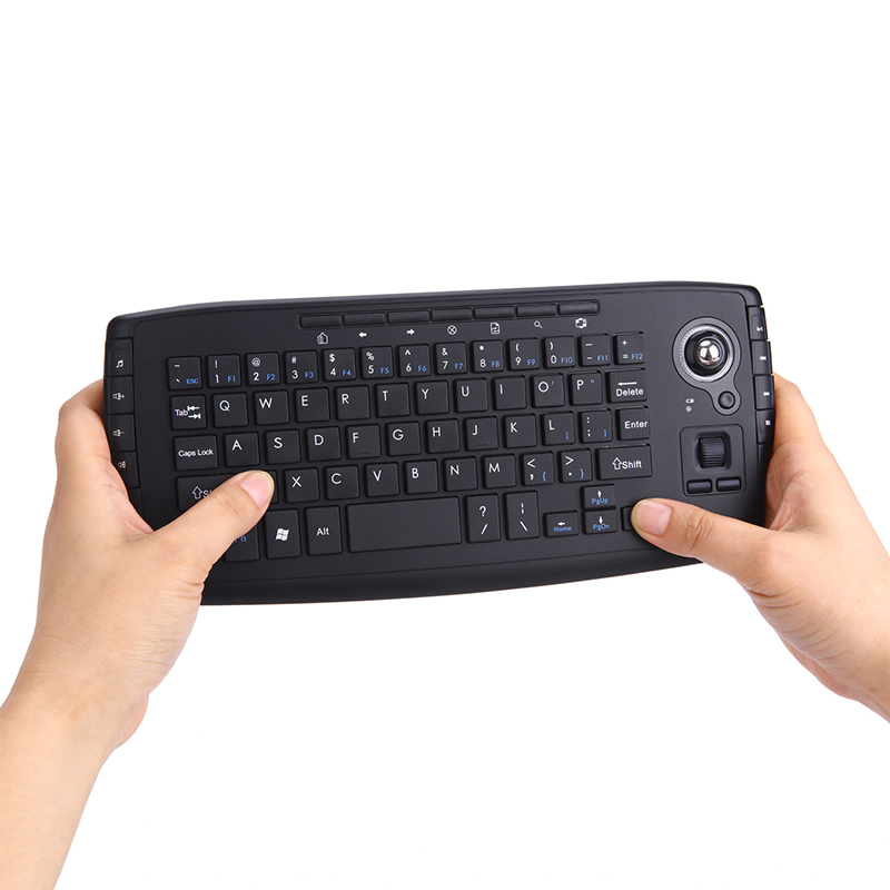 2 in 1 Handheld Keyboard and Mouse with Trackball 2.4G Wireless Portable QWERTY Keyboard Air Mouse Combo + Multimedia Keys KB01 ukb 106 all in one world s most mini 2 4ghz wireless qwerty keyboard mouse presenter combo with touchpad lithium battery for home office
