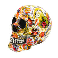 Horror Skull Decoration Resin  Skeleton Skull Color Flower Painting Halloween Home Bar Table Desktop home Decoration Craft Gift