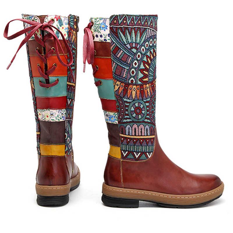 Prova Perfetto Vintage รองเท้าผู้หญิงรองเท้า Bohemian Retro หนังเข่ารองเท้าบูทสูงพิมพ์ด้านข้าง Zipper กลับลูกไม้ขึ้น Botas Mujer ใหม่